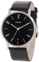 a.b. art O107 Series O Stainless Steel Swiss Quartz Black Dial and Leather Strap