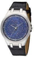Accurist Celestial Timepiece Quartz with Blue Dial Analogue Display and Black Leather Strap GMT318UK
