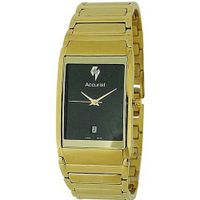 Accurist Gents Black Dial Date Gold Tone Stainless Steel Bracelet MB594B