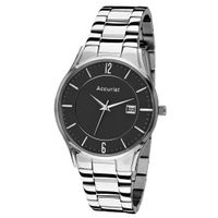 Accurist Gents Stainless Steel with Black Dial