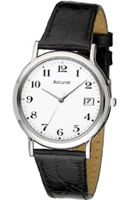 Accurist Gents Stainless Steel with Leather Strap