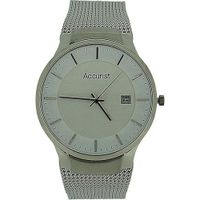 Accurist Gents White Dial Date Stainless Steel Silver Mesh Bracelet MB901