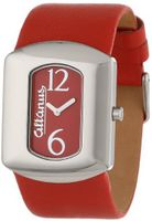 Altanus Geneve 16077-01 Chic Veticale Stainless Steel Quartz Red Napa Leather