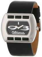Altanus Geneve 16078B-04 Chic Horizontal Stainless Steel Quartz Black Napa Leather Decorated Agate Stones