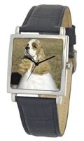 American Kennel Club D1809S015 Cocker Spaniel Silver-Tone Black Leather