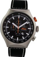 50 MM SILVER Aluminum Case Chronograph Tachymeter Date