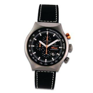 Avio Milano Quartz with Black Dial Chronograph Display and Black Leather Strap 45 MM SILVER