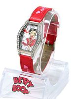 Betty Boop Silver Tone 24mm Bezel . Red Strap