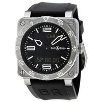 Bell and Ross Aviation Black Dial Black Rubber Strap BR0392-AVIA-ST