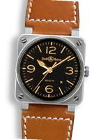 Bell and Ross Aviation Gold Heritage Black Dial Leather BR0392-GOLD-HER