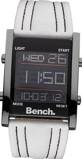 Bench men's quartz with LCD Dial digital Display and white PU Strap BC0388WH