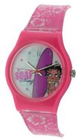 Betty Boop Analogue Surf Pink & White Plastic Strap Girls BTY14A