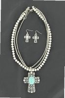 Blazin Roxx 29214 Three Strand Beaded Cross Jewelry Set Silver/Turquoise