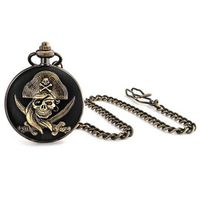 Bling Jewelry Antique Style Pirate Skull and Crossbones Black Pocket