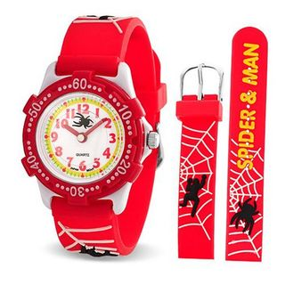 Bling Jewelry Spider Web Red Kids Stainless Steel Back Rotating Bezel