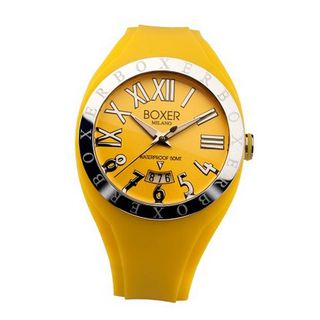 Boxer Milano Unisex Quartz with Yellow Dial Analogue Display and Yellow Rubber Strap BOX 40 YW