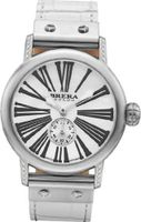 BRERA BWVA34275 Valentina Contemporary Sparkle 42mm Stainless Steel case with Real Diamonds WHITE ALLIGATOR Hand made in Italy strap with Signature buckle (20 Diamonds - 1.5mm each)
