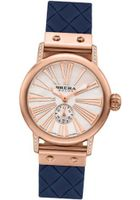 BRERA BWVA34279-BLWV Valentina Contemporary Sparkle 42mm ROSE Gold tone with Real Diamonds Navy Blue Woven pattern rubber strap