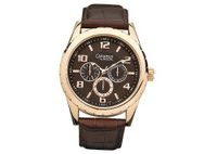 Bulova Caravelle Date - Gold-Tone - Black Dial - Brown Leather Strap. 44C100