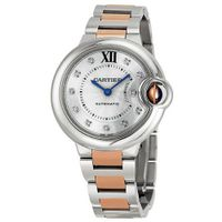 Cartier Ballon Bleu Automatic Diamond Rose Gold and Stainless Steel Ladies WE902044