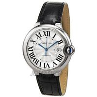 Cartier Ballon Bleu Automatic Silver Dial Stainless Steel Black Leather W69016Z4