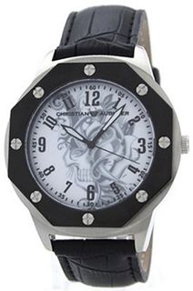 Christian Audigier Revo SWI-660 Black Leather Quartz with White Dial