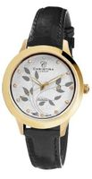 Christina Design London Big Earth Quartz with White Dial Analogue Display and Black Leather Strap 305GWBL