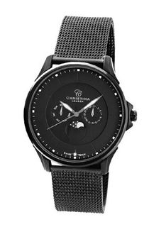 Christina Design London Black Moon Quartz with Black Dial Analogue Display and Black Stainless Steel Plated Strap 517BLBLBL-MESH