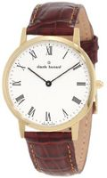 Claude Bernard 20061 37J BR Classic Gents - Slim Line Gold PVD White Dial Brown Leather