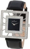 Claude Bernard 20076 3PB NAN Ladies Fashion Square Crystal Black Mother-of-Pearl Satin