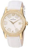Claude Bernard 61163 37JP BD Ladies Fashion Gold PVD Swarovski White Leather
