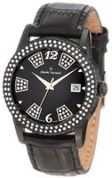Claude Bernard 61163 37NP NN Ladies Fashion Swarovski Black PVD Leather