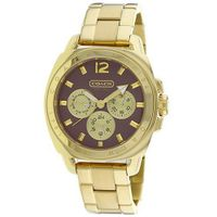 Coach  14501440 Boyfriend Style Gold Plated Bracelet Case and Bezel Brown Dial