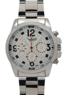 Daybird Multifunction Rounded White Dial Stainless Steel es