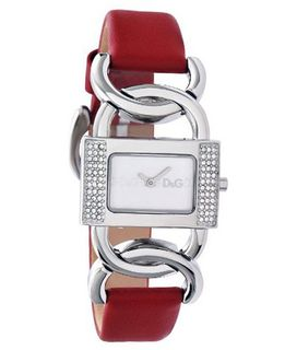 D&G Dolce & Gabbana DW0565 Donna Rectangle Silver Stone Bezel Red Strap