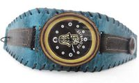 Ecowrist Bamboo Face Blue & Brown Wide Leather Strap