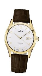 Edox 33017 37J AID WRC Luminous Gold PVD Stainless Steel Brown Genuine Leather Date