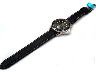20mm Black Leather strap White Stitching on deployant clasp Fit Omega Seamaster Professional