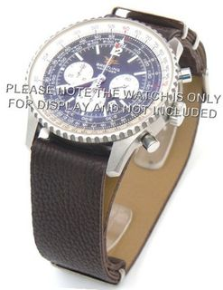 20mm Coffee Custom made NATO genuine leather strap fits Breitling Navitimer