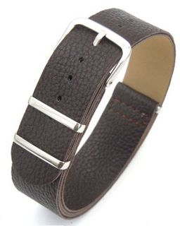 20mm Coffee Custom made NATO genuine leather strap