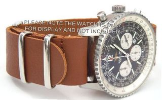 20mm Custom Hand made Brown NATO genuine leather strap fits Breitling Navitimer