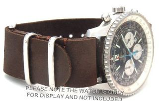 20mm Custom Hand made Dark brown NATO genuine leather strap fits Breitling Navitimer