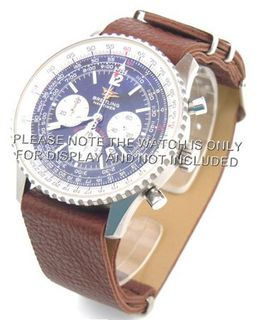 20mm Dark brown Custom made NATO genuine leather strap fits Breitling Navitimer