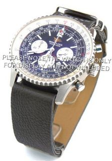 20mm Dark gray Custom made NATO genuine leather strap fits Breitling Navitimer