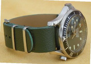20mm Green Custom made NATO genuine leather strap Fit Omega Seamaster Professional