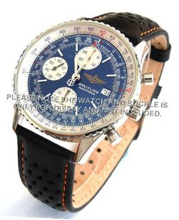 20mm Rally Perforated Leather strap contrast Orange stitching for Breitling Navitimer
