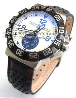 20mm Rally Perforated Leather strap contrast red stitching for TAG Heuer Carrera & Formula 1