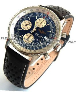 20mm Rally Perforated Leather strap contrast white stitching for Breitling Navitimer