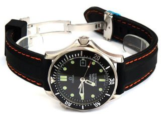 20mm 'soft touch' silicon rubber strap with ORANGE stitching on stainless steel deployment Fits Omega Seamaster Professional