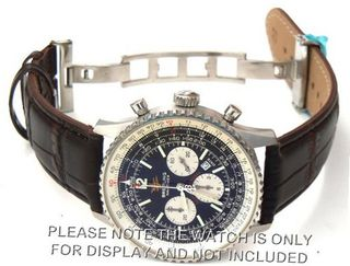 22mm Brown Crocodile Strap on deployant buckle Fits Breitling Navitimer